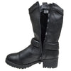Womens Mid Calf Boots Side Buckle Accent Zip Up Comfort Shoes Black