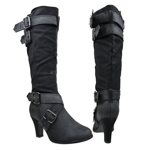 Womens Knee High Boots Strappy Buckle Accent High Heel Shoes Black