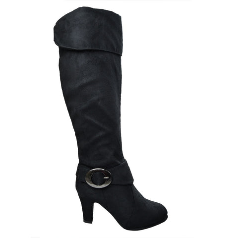 Womens Knee High Boots Folded Cuff Buckle Accent Zip Up Shoes black