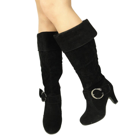 Womens Knee High Boots Folded Cuff Buckle Accent Side Zipper Closure black