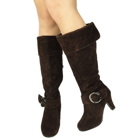 Womens Knee High Boots Folded Cuff Buckle Accent Side Zipper Closure Brown