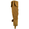 Womens Knee High Boots Folded Cuff Buckle Accent Side Zipper Closure Tan