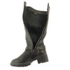 Womens Knee High Boots Leather Motorcycle Riding Low Heel Side Buckle black
