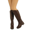 Womens Knee High Boots Leather Motorcycle Riding Low Heel Side Buckle Brown