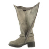 Womens Knee High Boots Leather Motorcycle Riding Low Heel Side Buckle Gray