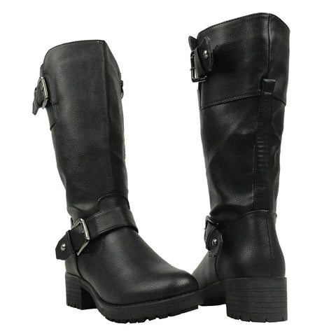 Womens Mid Calf Boots Leather Low Heel