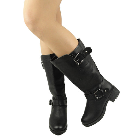 Womens Mid Calf Boots Leather Low Heel Adjustable Ankle Buckle black