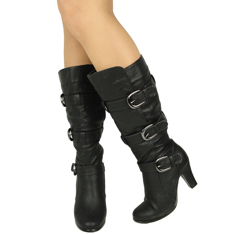 Womens Mid Calf Boots Triple Adjustable Buckles Side Zipper Closure black