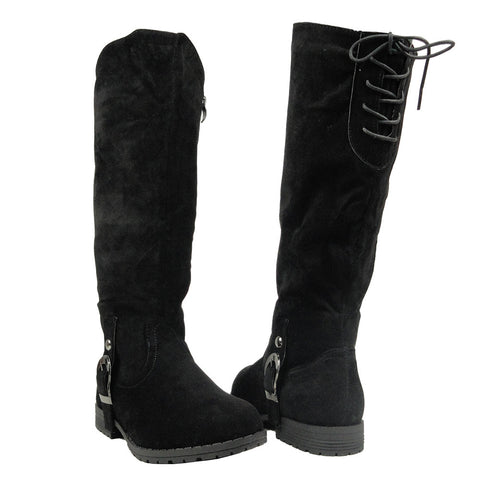 Womens Mid Calf Boots Suede Ankle Buckle Lace Up Back black