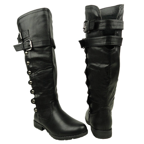 Womens Knee High Boots Side Rounded Studs Buckle Casual Comfort Shoes black