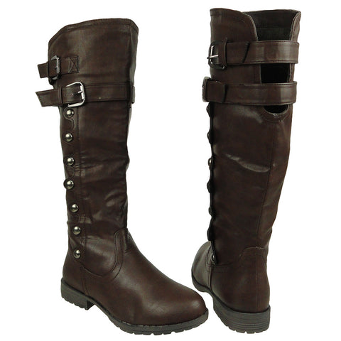 Womens Knee High Boots Side Rounded Studs Buckle Casual Comfort Shoes Brown