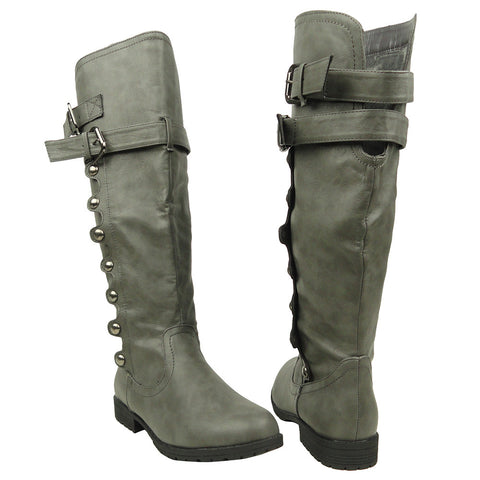 Womens Knee High Boots Side Rounded Studs Buckle Casual Comfort Shoes Gray
