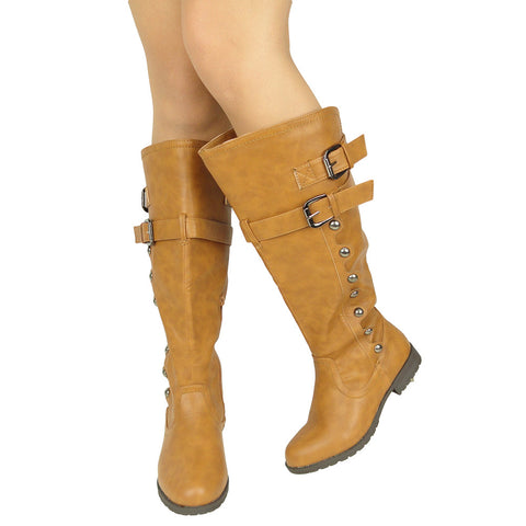 Womens Knee High Boots Side Rounded Studs Buckle Casual Comfort Shoes Light Brown