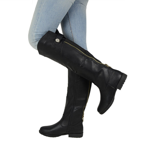 Womens Knee High Boots Over The Knee Button Accent Comfort Shoes black
