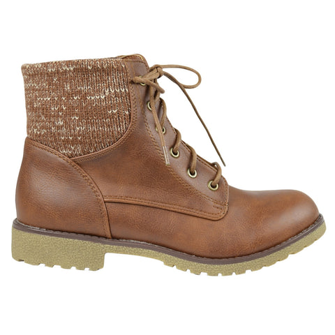 Womens Ankle Boots Knitted Ankle Lace Up Casual Riding Shoes Tan