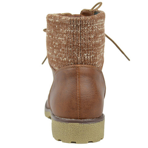 d484815eb358c Womens Ankle Boots Knitted Ankle Lace Up Casual Riding Shoes Tan