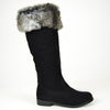 Womens Knee High Boots Folding Fur Cuff Suede Casual Comfort Shoes black