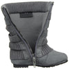 Toddlers Mid Calf Boots Ruched Knitted Buckle Straps Gray