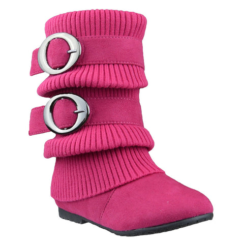 Kids Mid Calf Boots Ruched Knitted Buckle Straps Pink