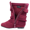 Kids Mid Calf Boots Ruched Knitted Buckle Straps Red