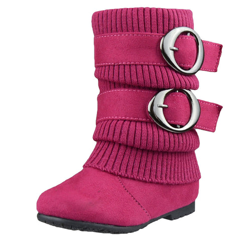 Toddlers Mid Calf Boots Ruched Knitted Buckle Straps Pink
