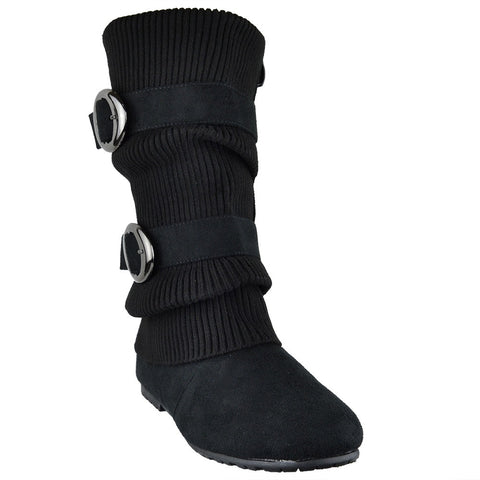Womens Mid Calf Boots Ruched Knitted Buckle Casual Comfort Shoes black