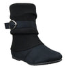 Womens Mid Calf Boots Single Buckle Ruched Zip Up Comfort Shoes black