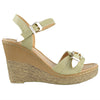 Womens Platform Sandals Front Buckle Accent High Wedge Shoes Beige