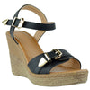 Womens Platform Sandals Front Buckle Accent High Wedge Shoes black