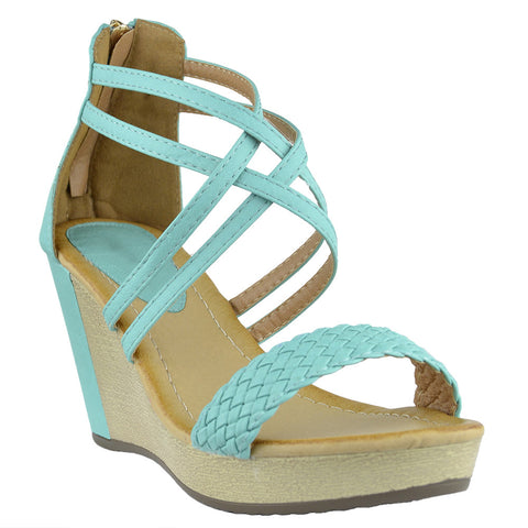 Womens Platform Sandals Weaved Strappy High Wedge Shoes Blue