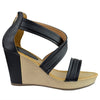 Womens Platform Sandals Cross Strap Two Tone High Wedge Shoes black