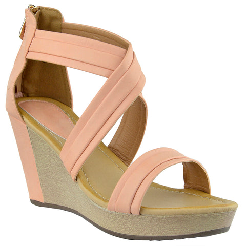 Womens Platform Sandals Cross Strap Two Tone High Wedge Shoes Orange