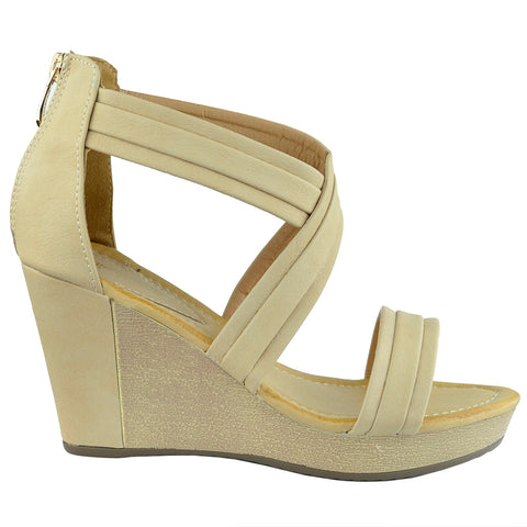 Womens Platform Sandals Cross Strap Two Tone High Wedge Shoes Tan