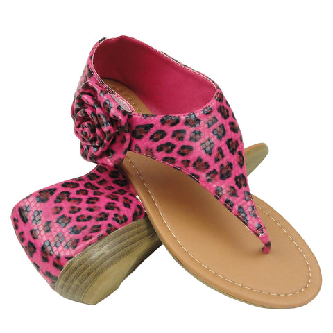 Womens Flat Sandals Gladiator Thong Leopard Flower Flower Accent Shoes Pink