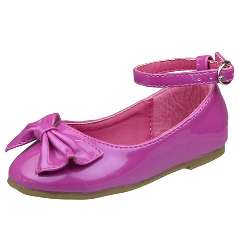 Toddlers Ballet Flats Toe Cap Bow Adjustable Ankle Strap Pink