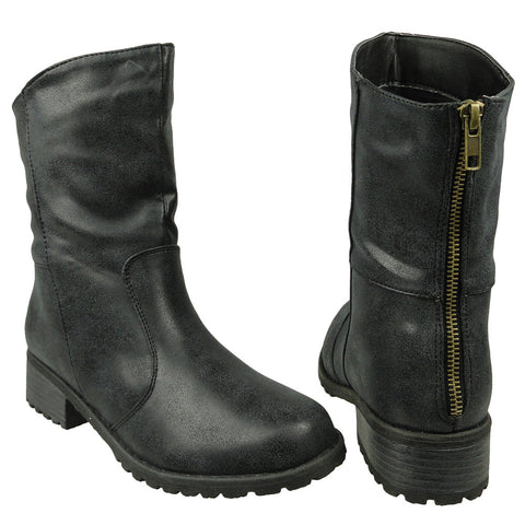 Womens Ankle Boots Loose Fitting Back Zipper Comfort Shoes black