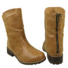 Womens Ankle Boots Loose Fitting Back Zipper Comfort Shoes Tan