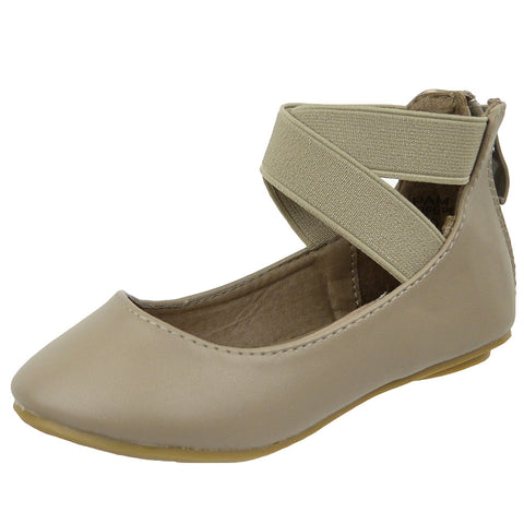 Kids Ballet Flats Elastic X-Strap Girls Leather Fahion Shoes Taupe