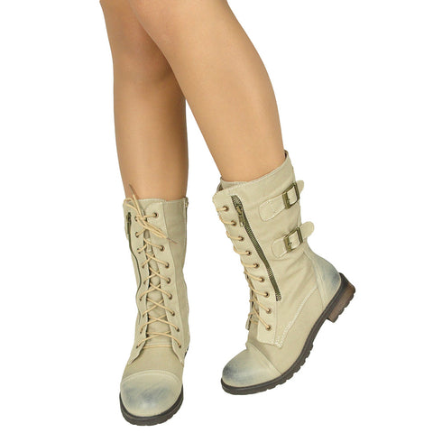 Womens Mid Calf Boots Canvas Lace Up and Zipper Casual Comfort Shoes Beige