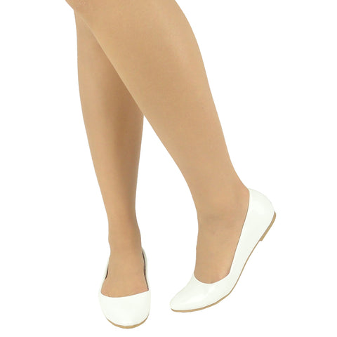 Womens Ballet Flats Pointed Toe Easy Slip On White