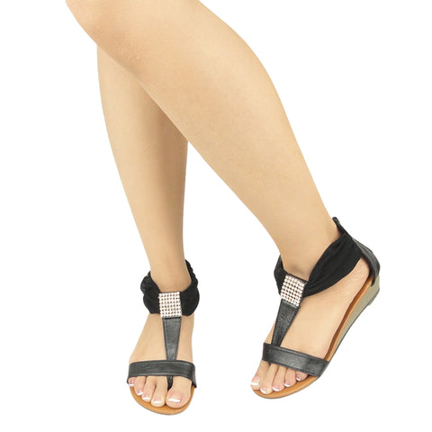 Womens Flat Sandals Tulle Ankle Wrap Zipper Closure black