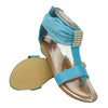 Womens Flat Sandals Tulle Ankle Wrap Zipper Closure Blue
