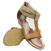 Womens Flat Sandals Tulle Ankle Wrap Zipper Closure Tan