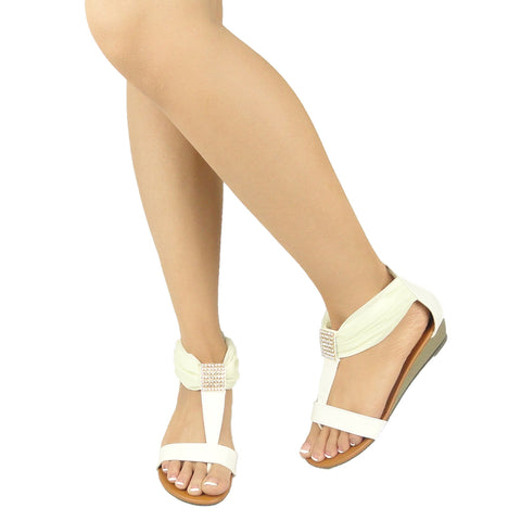 Womens Flat Sandals Tulle Ankle Wrap Zipper Closure White
