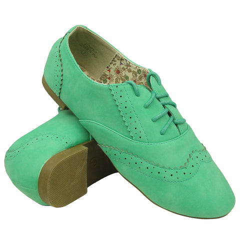 Womens Ballet Flats Leather Perforated Oxford Comfort Lace Up Shoes Green