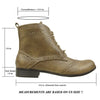 Womens Ankle Boots Perforated Tonal Stitch Lace up Comfort shoes Taupe