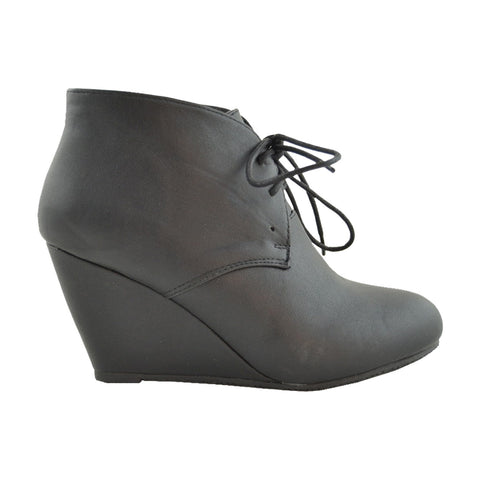 womens ankle boots leather low heel lace up casual wedges black