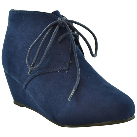 Kids Ankle Boots Faux Suede Low Heel Casual Wedges Navy
