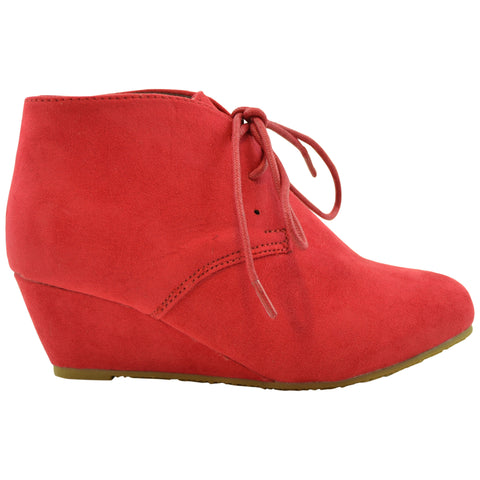 Kids Ankle Boots Faux Suede Low Heel Casual Wedges WINE