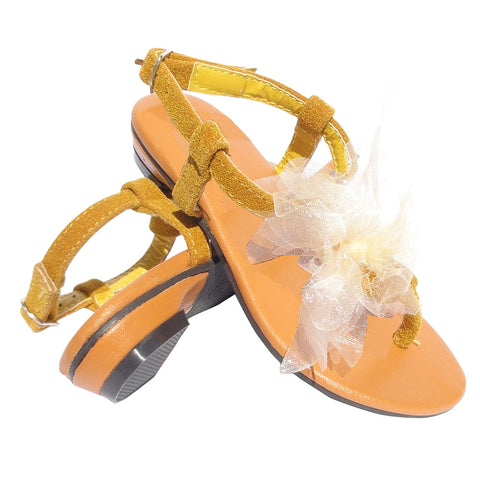 Kids Flat Sandals Chiffon Flower Adjustable Ankle Strap Yellow
